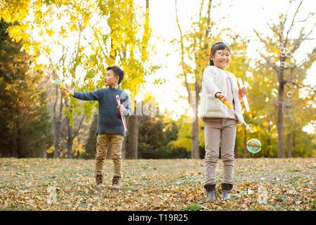 Dos niños soplando burbujas Imagen De Stock