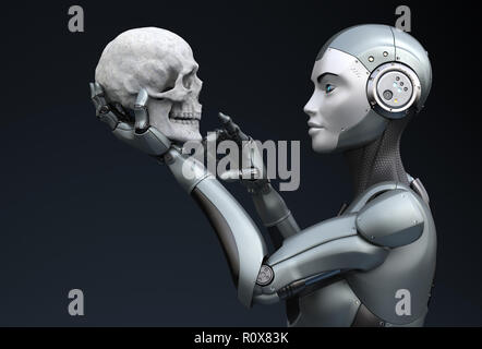 Robot con cráneo humano en su mano. Ilustración 3D Imagen De Stock
