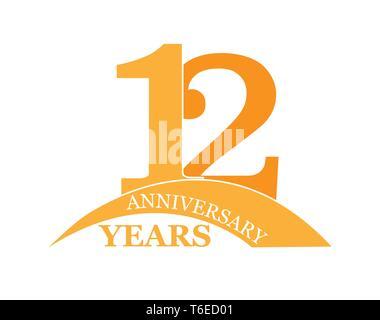 12 años aniversario, plano sencillo diseño, el logotipo Imagen De Stock