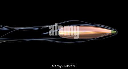 Flying bullet con aire trail. Ilustración 3D Imagen De Stock