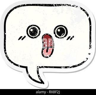 Pegatina angustiado de una caricatura burbujas de voz Imagen De Stock