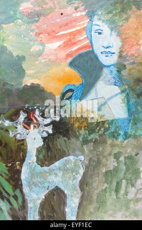 """Desde """"Retrato de una dama de la nobleza de Saxon"""" de Cranach 29/05/2015 - Siglo 21 Noizet-Faucon Imagen De Stock"""
