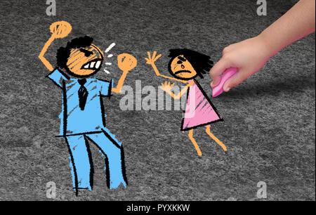 Concepto de abuso infantil y la violencia doméstica como un niño abusado por un adulto violento o uno de los padres abusa de un niño como en un estilo de ilustración 3D. Imagen De Stock