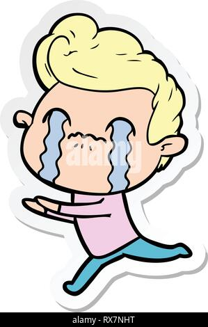 Pegatina de una historieta hombre llorando Imagen De Stock