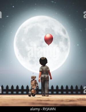 Muchacho caminando con el robot bajo la luna bagaje conceptual,3D rendering Imagen De Stock