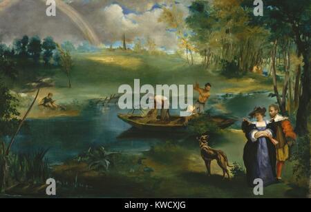 La pesca, por Edouard Manet, 1862-63, la pintura impresionista francesa, óleo sobre lienzo. Manet y su futura Imagen De Stock
