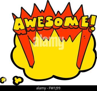 Pensamiento dibujados a mano alzada de dibujos animados burbuja impresionante palabra Imagen De Stock