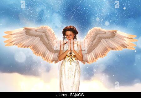 Un ángel en el cielo,3d ilustración Imagen De Stock