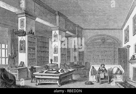 María Edgeworth (1768-1849) escritor anglo-irlandés en la biblioteca Edgeworthstown House, en el condado de Longford, Irlanda Imagen De Stock