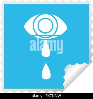 Peeling cuadrados adhesivos caricatura de un ojo llorando Imagen De Stock