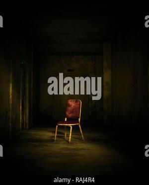 Representación 3D de una vieja silla en casa embrujada o asilo Imagen De Stock