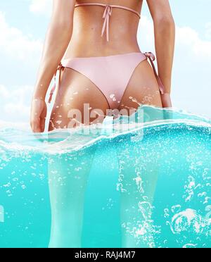 Bikini chica en agua,3d ilustración Imagen De Stock