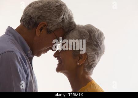 Retrato de alto par tocar frentes Imagen De Stock