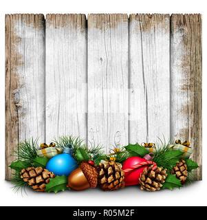 Vacaciones de Navidad como un signo de estilo rústico de madera pintadas en blanco con la etiqueta Estacional de invierno de decoraciones ornamentales con ilustración 3D elementos. Imagen De Stock