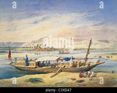 Kanja sobre el Nilo en Luxor, por Achille-Constant-Theodore Emile Prisse d'Avennes. Egipto, del siglo XIX. Imagen De Stock