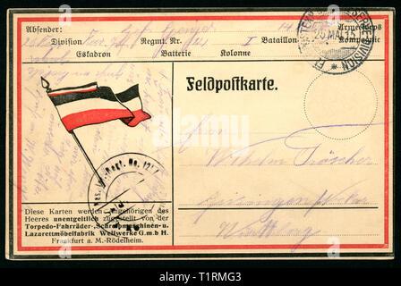 Alemania, Baden-Württemberg, Geisingen, Freiberg, WW I, las fuerzas patrióticas puesto el servicio postal con el negro-blanco-rojo bandera del Imperio Alemán, este tipo de tarjeta postal fue donado a todos los soldados del ejército por la empresa Weilwerke GmbH, Frankfurt a. M., esta postal fue enviada el 25. 05. 1915. , Additional-Rights-Clearance-Info-Not-Available Imagen De Stock