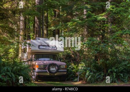 Autocaravana aparcada en pista forestal, Quadra Island, Campbell River, Canadá Imagen De Stock