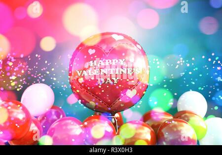 Globos rojos con coloridas luces borrosa abstracta para celebrar el Día de San Valentín de fondo de diseño,3d ilustración Imagen De Stock