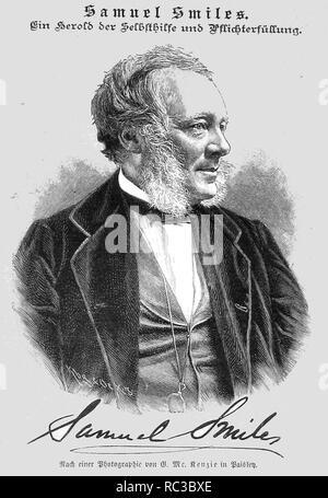 SAMUEL SMILES (1812-1904) autor escocés y reformador del gobierno como se muestra en la revista alemana Die Gartenlaube Imagen De Stock