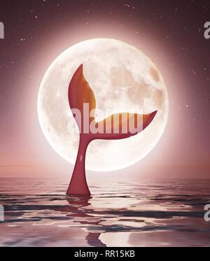 Disfrute de la luz de la luna de sirena,3D rendering Imagen De Stock