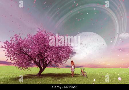 Ilustración conceptual 3d de una niña caminando en el campo de la fantasía Imagen De Stock