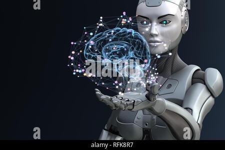 Robot con inteligencia artificial. Ilustración 3D Imagen De Stock