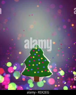 Elegante decoración del árbol de Navidad sobre fondo de colores,3D rendering Imagen De Stock