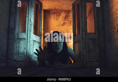 Arrastrar conmigo a muerte,chica está arrastrando en edificio abandonado,3d ilustración Imagen De Stock