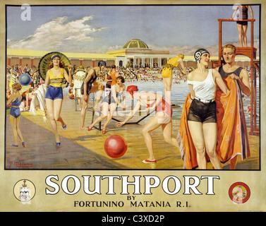 Por Fortunino Matania, Southport. Inglaterra, de principios del siglo XX. Imagen De Stock