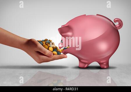 Concepto de ahorro como una mano materna dinero o monedas a una hucha o alcancía hambrientos con ilustración 3D elementos. Imagen De Stock