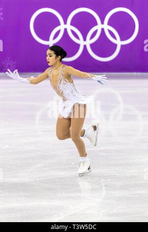 Karen Chen (USA) competir en el Patinaje artístico - Corto de damas en los Juegos Olímpicos de Invierno PyeongChang 2018 Imagen De Stock