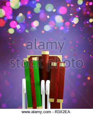 Navidad decorado stockingGifts sobre fondo de colores,3D rendering Imagen De Stock