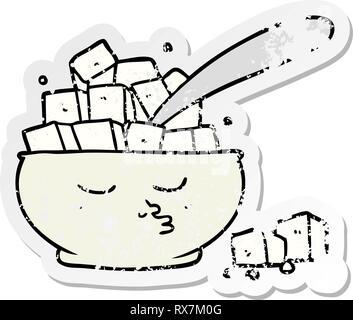 Pegatina angustiado de una historieta Sugar Bowl Imagen De Stock