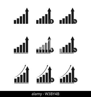 Conjunto de gráficos para los negocios y las finanzas, diseño plano. Imagen De Stock