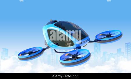 Pasajero eléctrico teledirigido volando en frente de los edificios. Este es un modelo 3D y no existe en la vida real. Ilustración 3D Imagen De Stock