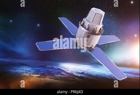 Sci-Fi sattellite en la órbita de la tierra. Los elementos de esta imagen proporcionada por la NASA . Ilustración 3D Imagen De Stock