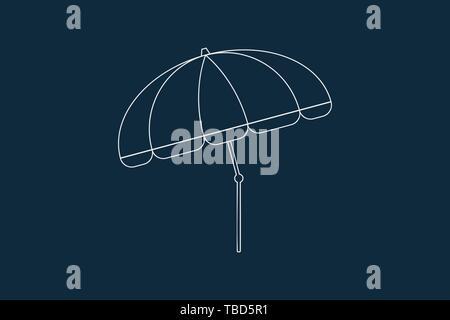 Dibujo de líneas vector de una sombrilla, sobre azul Imagen De Stock