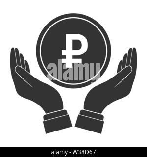 Moneda con el símbolo del rublo ruso y palmas aparte. Diseño simple plana Imagen De Stock