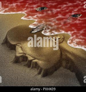 Concepto de playa Marea roja de advertencia de peligro para la salud humana como peligrosa toxina natural en el océano o mar como concepto de algas tóxicas naturales mortal. Imagen De Stock