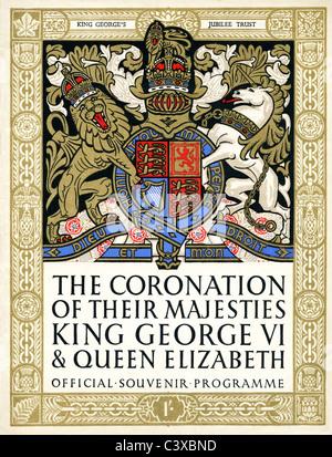 Cubierta del programa de recuerdo oficial de la Coronación de Sus Majestades el Rey George VI y la Reina Elizabeth, Imagen De Stock