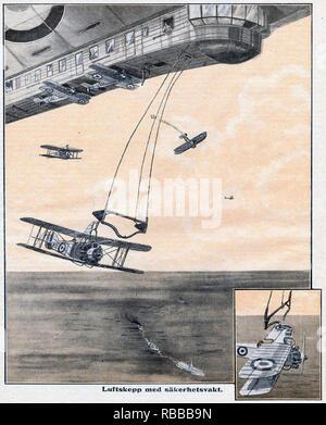 Dirigible lanza un concepto creativo de aviones en una revista Sueca de 1925. Nota el patín bastidores sobre los biplanos. Imagen De Stock
