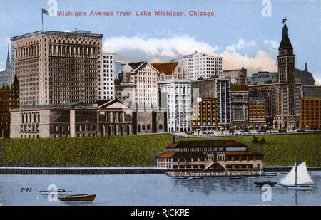 Michigan Avenue visto desde el Lago Michigan, Chicago, Illinois, Estados Unidos. Imagen De Stock