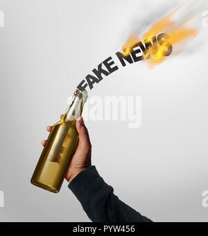Concepto de peligro noticias falsas y engaño la labor periodística como una persona arrojaron un cóctel molotov en forma de texto como falsa de los medios de comunicación. Imagen De Stock