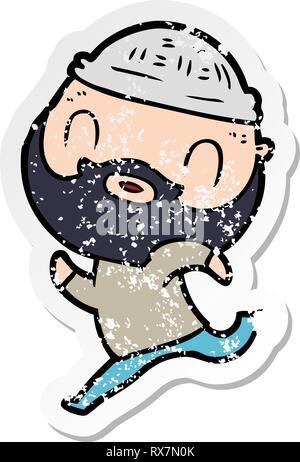 Pegatina angustiado de un hombre barbado de dibujos animados Imagen De Stock