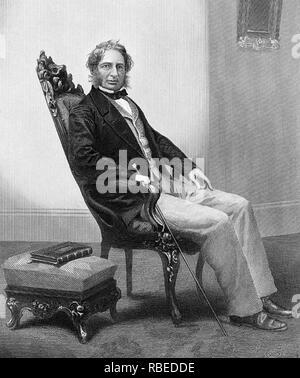 HENRY Wadsworth Longfellow (1807-1882), poeta norteamericano, alrededor de 1850. Grabado después de daguerrotipo de fotógrafos con sede en Boston Southworth & Hawes. Imagen De Stock