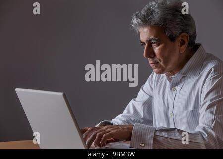 Retrato de altos hombre trabajando con un portátil Imagen De Stock