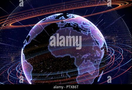 Internet, gran cantidad de datos y la tecnología de la información concepto .3D ilustración Imagen De Stock