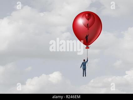 Apoyo a la gestión empresarial la metáfora como una persona dentro de un globo de tamaño decreciente con uno dentro del otro con elementos de ilustración 3D. Imagen De Stock