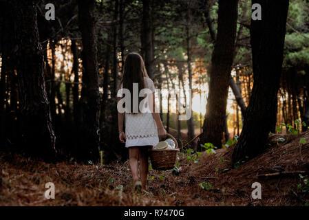 Niña cargando una cesta de picnic caminando a través del bosque oscuro, vista trasera Imagen De Stock