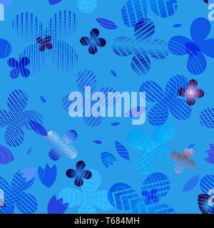 Patrón floral abstracto en tonos de azul. Ideal para textiles, embalajes, papel de impresión, fondos y texturas simples. Imagen De Stock